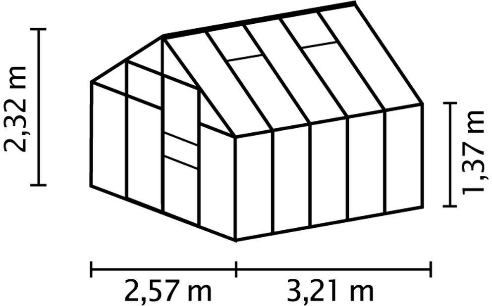 Växthus Merkur , 8.3 kvm, Grå