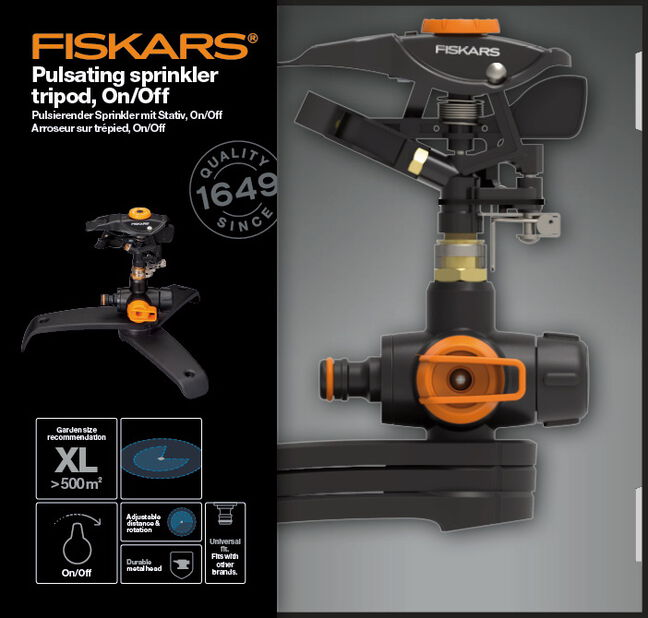 Impulsspridare med 3-fotsbas on/off Fiskars, Svart