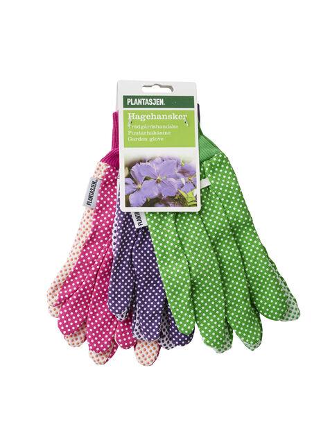 Trädgårdshandske 3-pack bomull medium