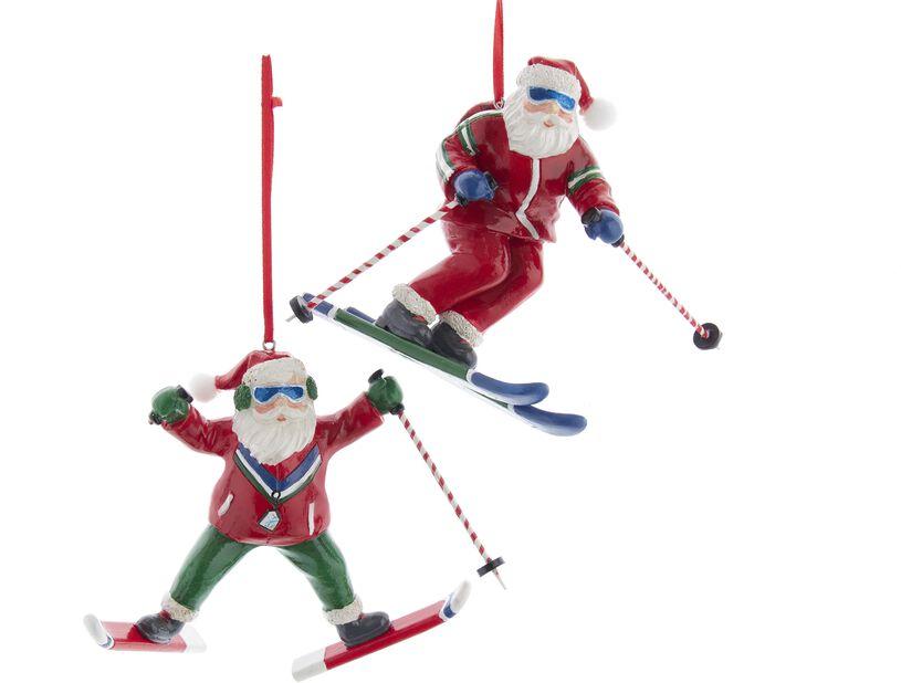 Julgranspynt jultomte på skidor, Höjd 15 cm, Flerfärgad