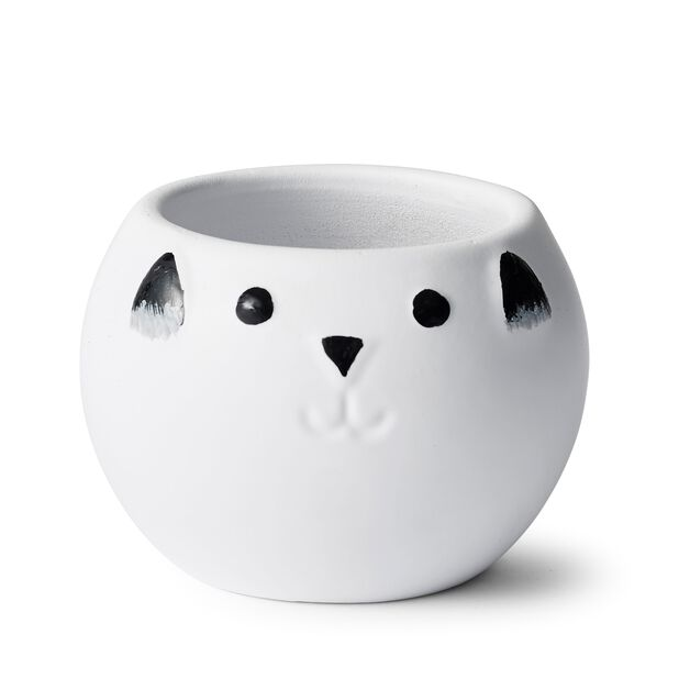 Minikruka katt, Ø10 cm, Vit