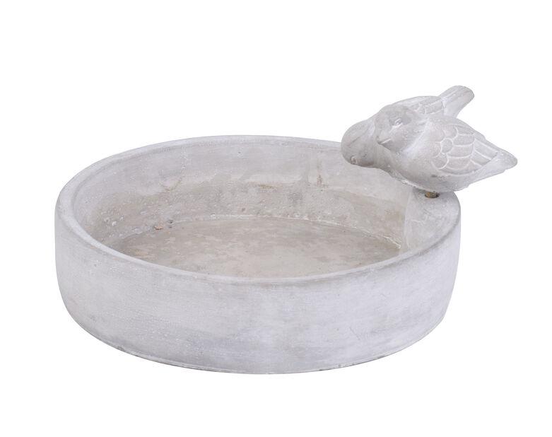 Fågelbad, Längd 23 cm, Grå