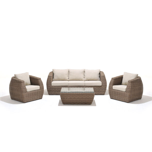 Loungeset Galan, 5 sittplatser, Brun