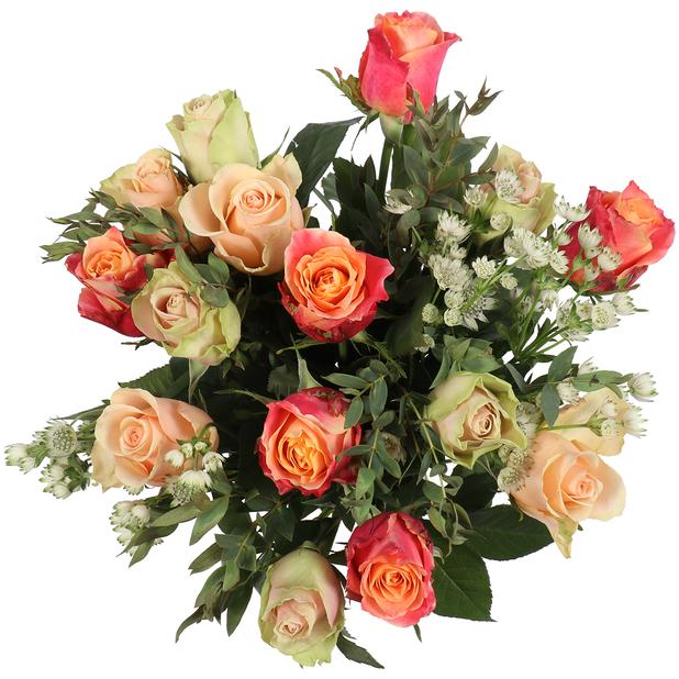 Bukett 'Pretty roses', Höjd 50 cm, Flerfärgad