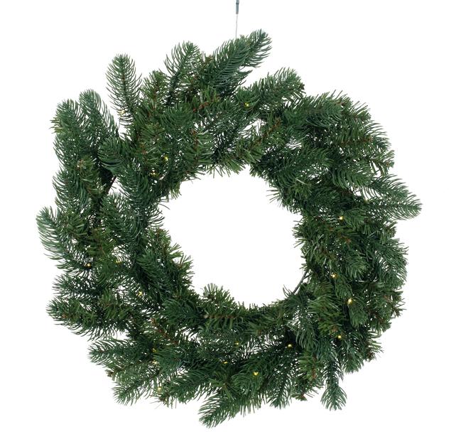 Krans Thuja med LED-belysning, Ø60 cm, Grön