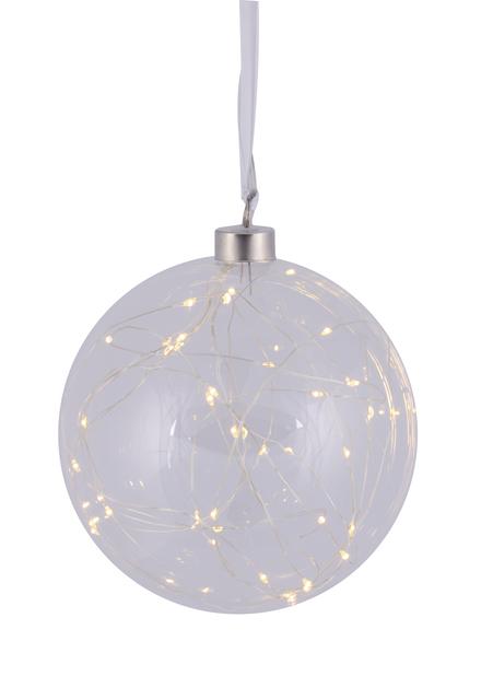 Glaskula med LED-belysning, Ø15 cm, Transparent