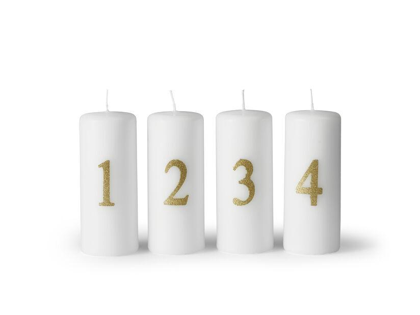 Adventsljus , Höjd 12 cm, Vit