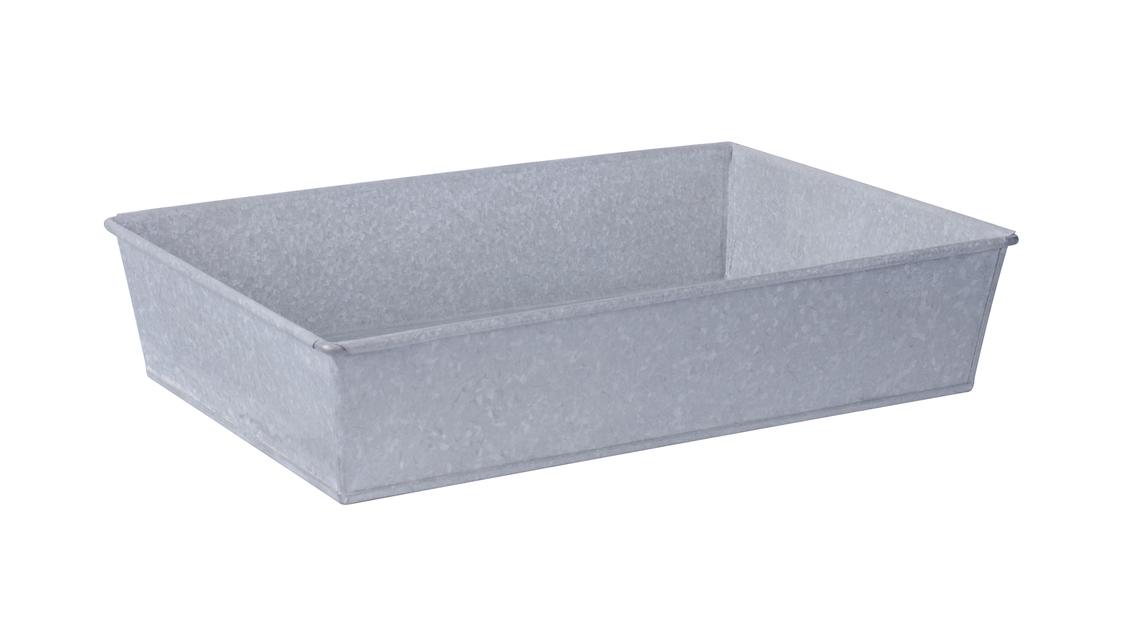 Zinklåda S, Längd 40 cm, Silver