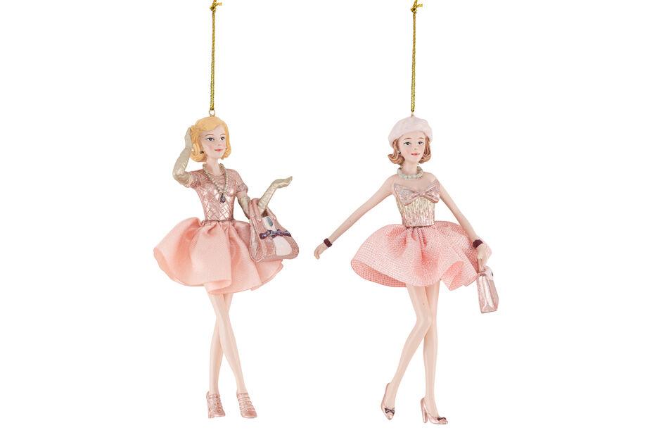 Julpynt shopping i Paris, Höjd 15 cm, Rosa