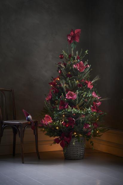 Julstjärna på stam , Höjd 28 cm, Röd