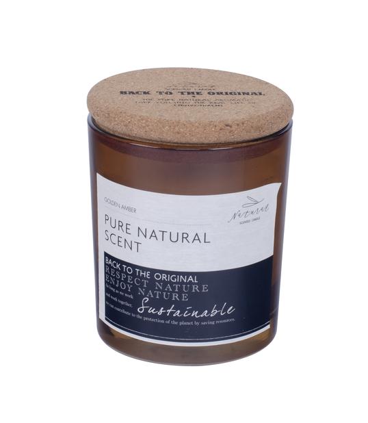 Doftljus vanilj med lock, Höjd 8 cm, Brun